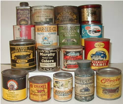 Click for larger image of vintage auto paint cans